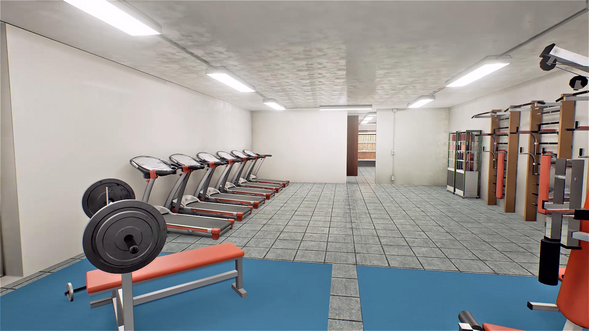 Massive gym in bunker