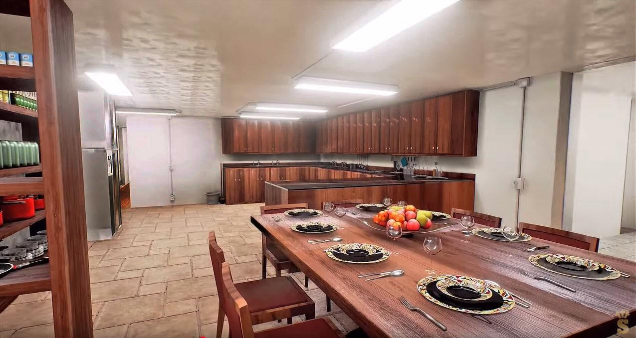 Large kitchen and dining area in Presidential bunker