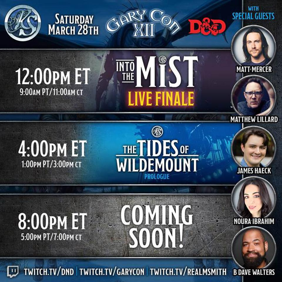 Realmsmith's livestreaming lineup