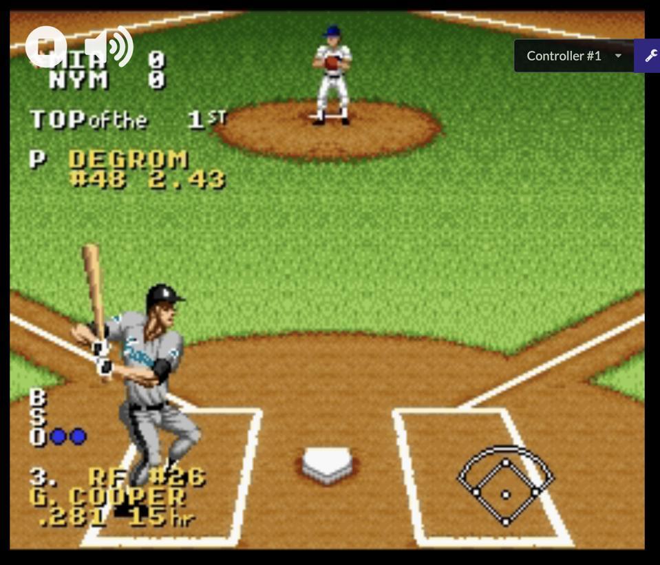 The Social Distancing Baseball League: Marlins at Mets. Ken Griffey Jr. Presents Major League Baseball (SNES)