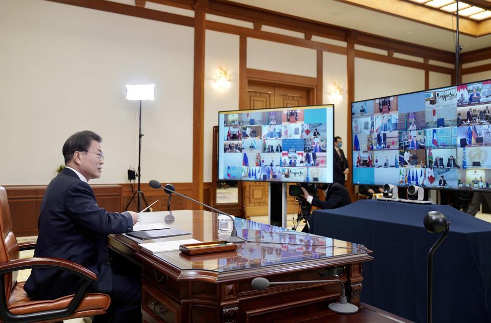 South Korean President Moon Jae-in discusses the coronavirus with global leaders.