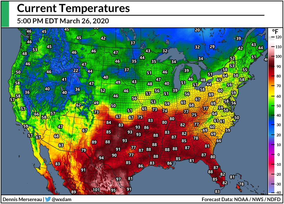 A map of temperatures across North America at 5:00 PM EDT on March 26, 2020.