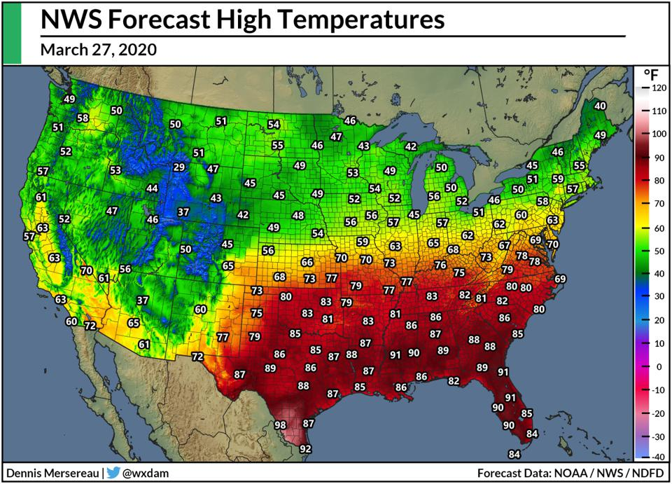 National Weather Service's forecast high temperatures for March 27, 2020.