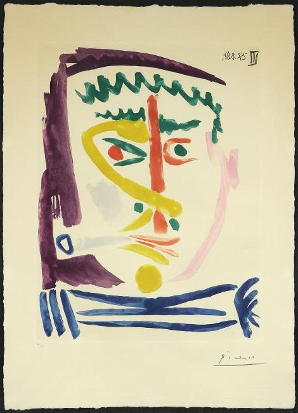 Pablo Picasso, ″Fumeur III″, color aquatint