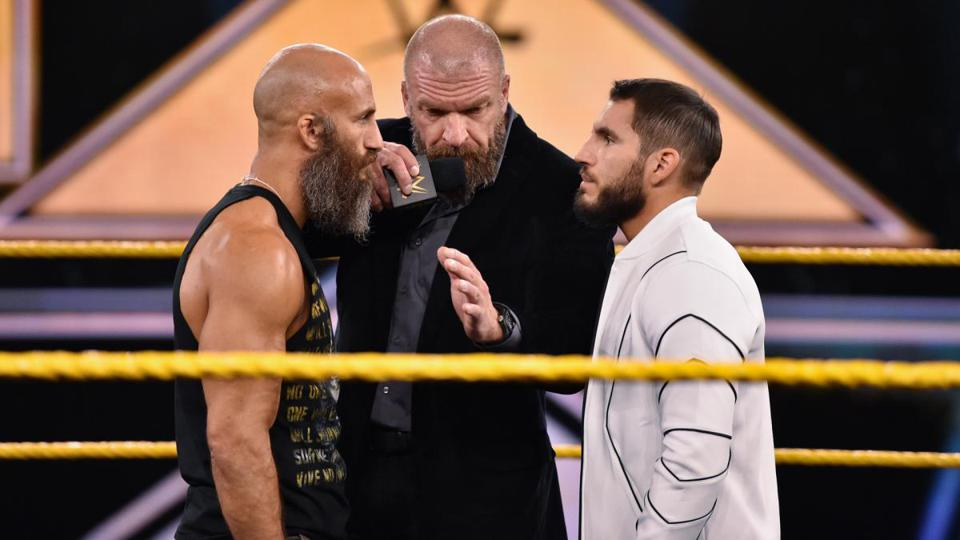 Triple H moderates a between Tomasso Ciampa & Johnny Gargano on the 3/25/2020 ep. of NXT.