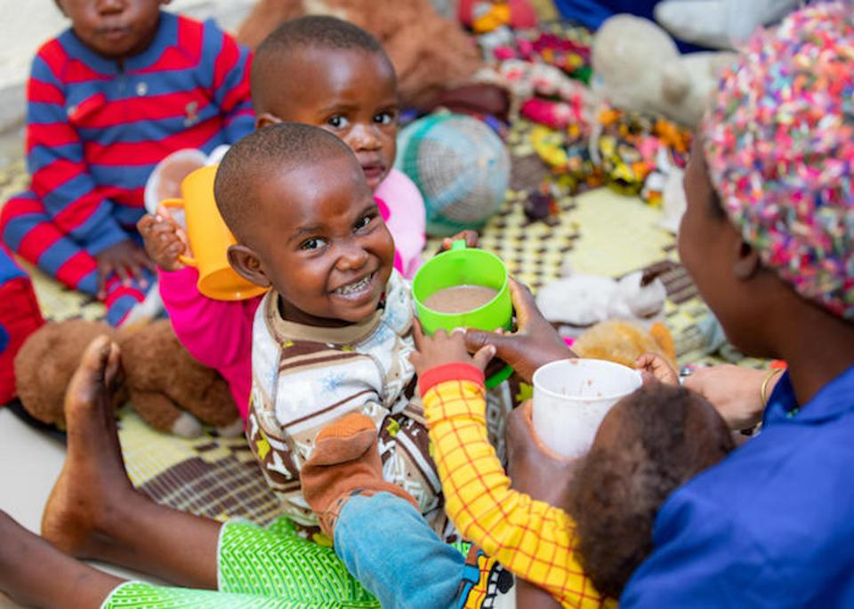 Children play at the UNICEF-supported cross-border Early Childhood Development center in Rubavu, Rwanda