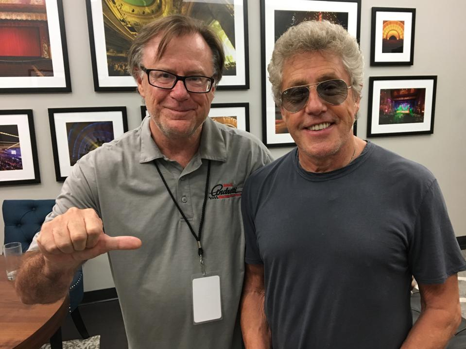 Journalist Jim Clash with Roger Daltrey backstage at Madison Square Garden 2019.