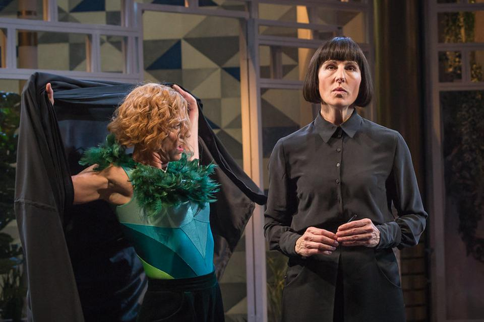 Doon Mackichan as Feste and Tamsin Greig as Malvolia in the National Theatre's Twelfth Night.