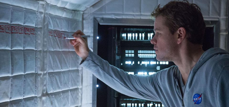 Matt Damon as Mark Watney trying to stretch out his remaining days on Mars