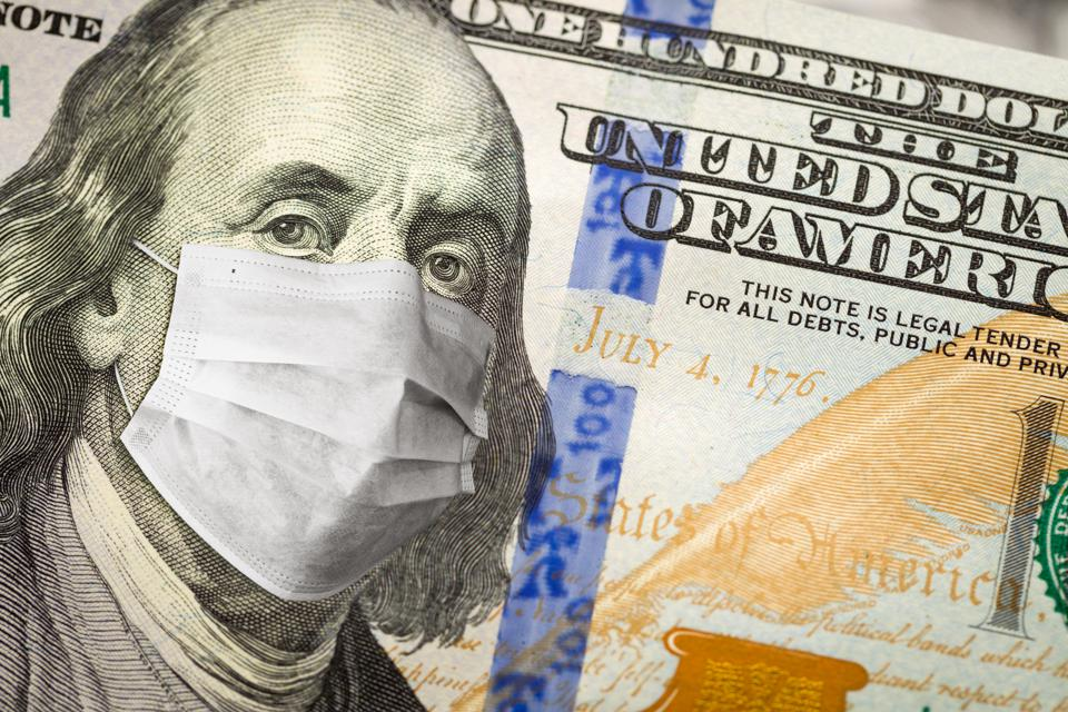 One Hundred Dollar Bill With Medical Face Mask on George Washington