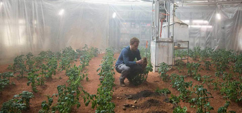 Mark Watney grows potatoes to survive on Mars