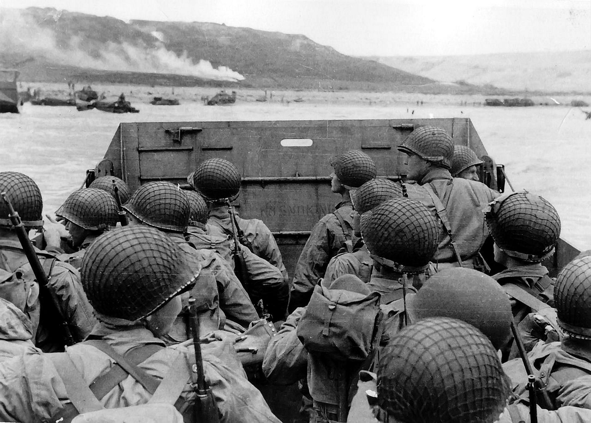 Photograph of American troops approaching Omaha Beach, Normandy, on D-Day. Dated 20th Century.