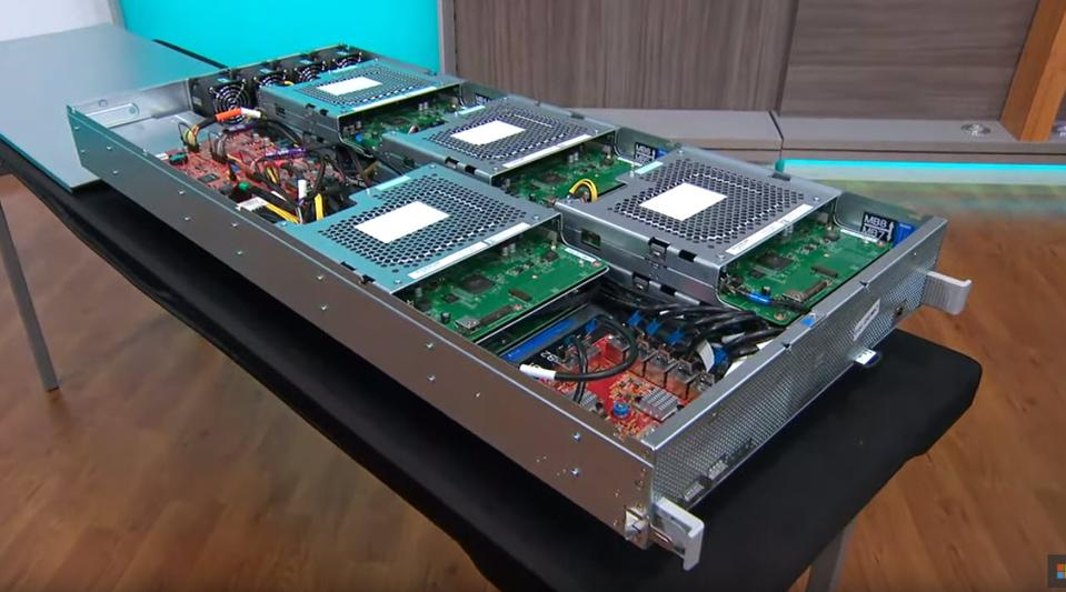 A server blade form a Microsoft data center outfitted with Series X hardware and software.