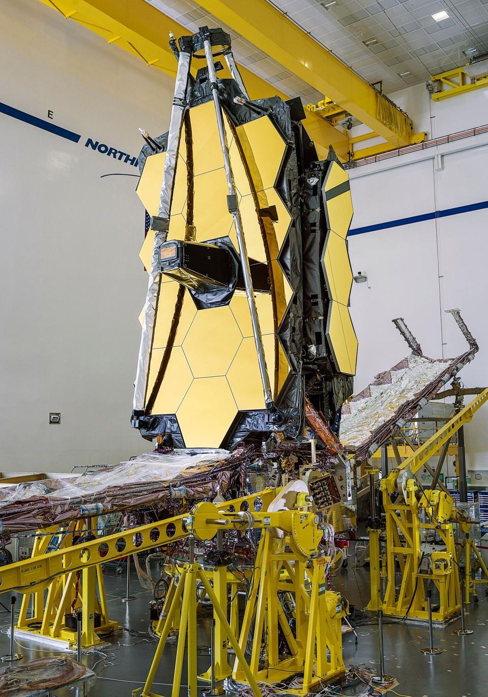NASA's James Webb Space Telescope, post-integration, inside Northrop Grumman's cleanroom facilities in Redondo Beach, California.