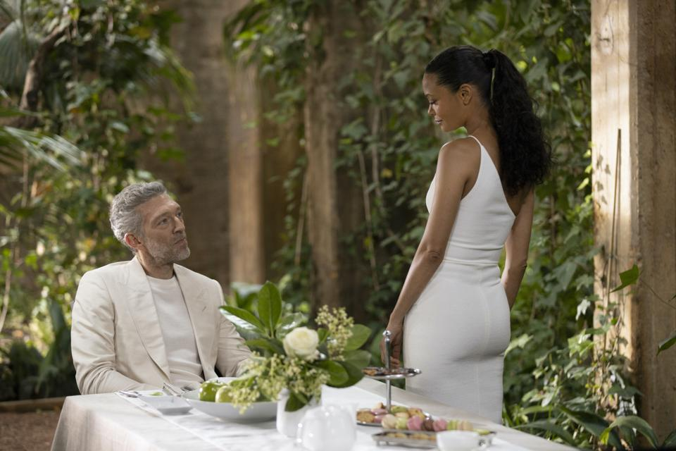 Maeve (Thandie Newton) is back in the real world and Serac (Vincent Cassell) is trying to woo her into a new directive on HBO's Westworld.