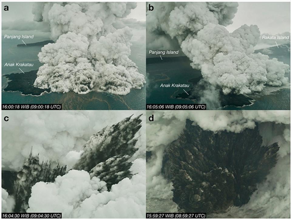 Images showing the eruption of Anak Krakatau in December 2018, from Prata et al. 2020.