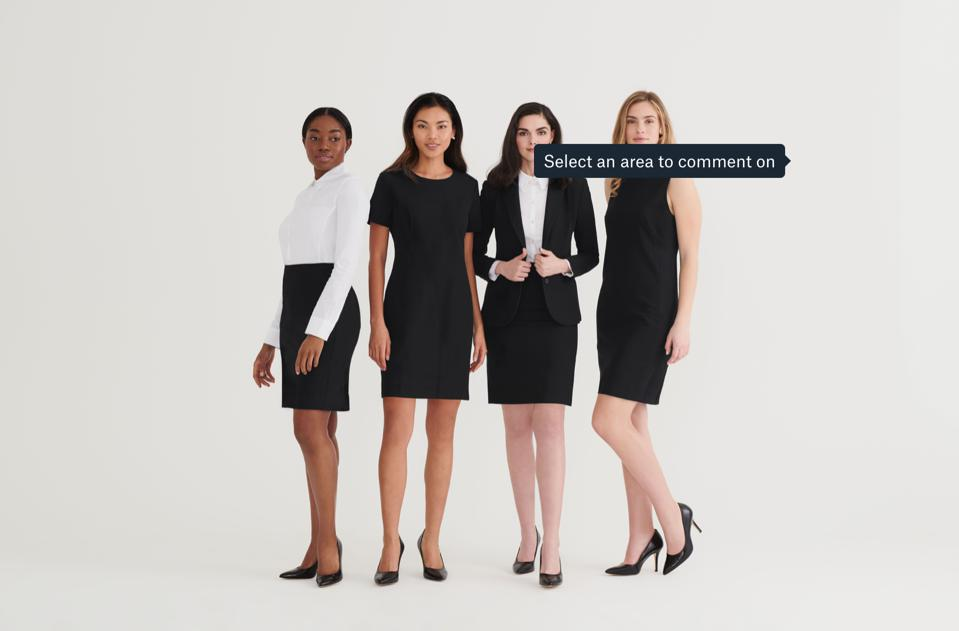 Four women styled in the launch collection from Suitably, including: Suite Skirt, Keynote Dress, 24/7 Blazer, and Intro Dress.