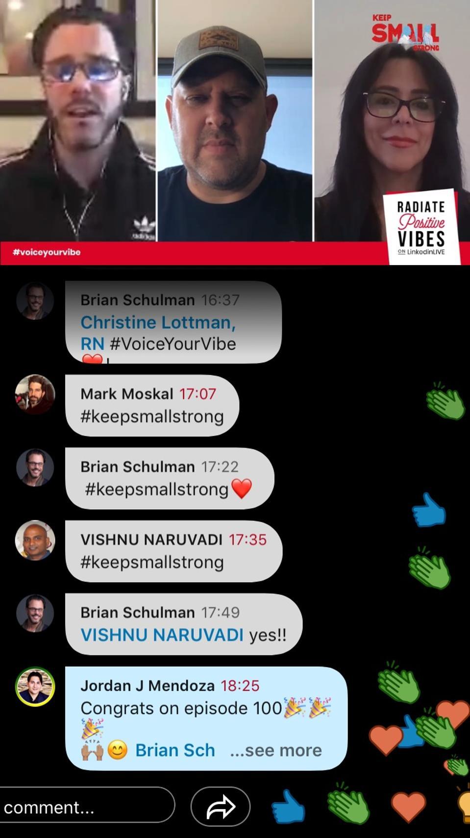 (L-R) Brian Schulman, Adam Grohs, and Carolina Molea on Schulman's #WhatsGoodWednesday LinkedIn Live show to launch #KeepSmallStrong
