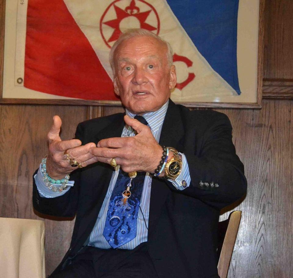 Buzz Aldrin at The Explorers Club headquarters, New York City.