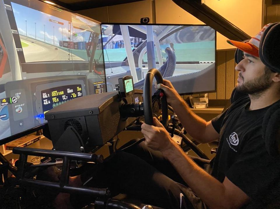 NASCAR's Chase Elliot in the seat of his iRacing simulator.