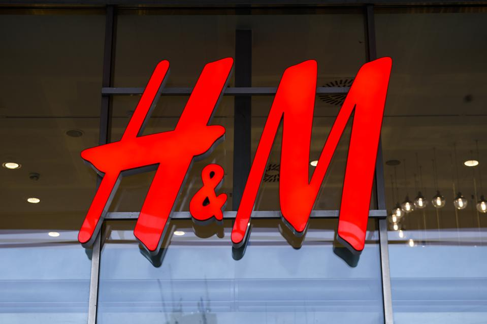 H&M logo is seen at the city center...