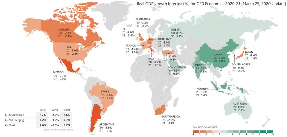 Moody's Investor Services expects an economic contraction in all G-20 countries.
