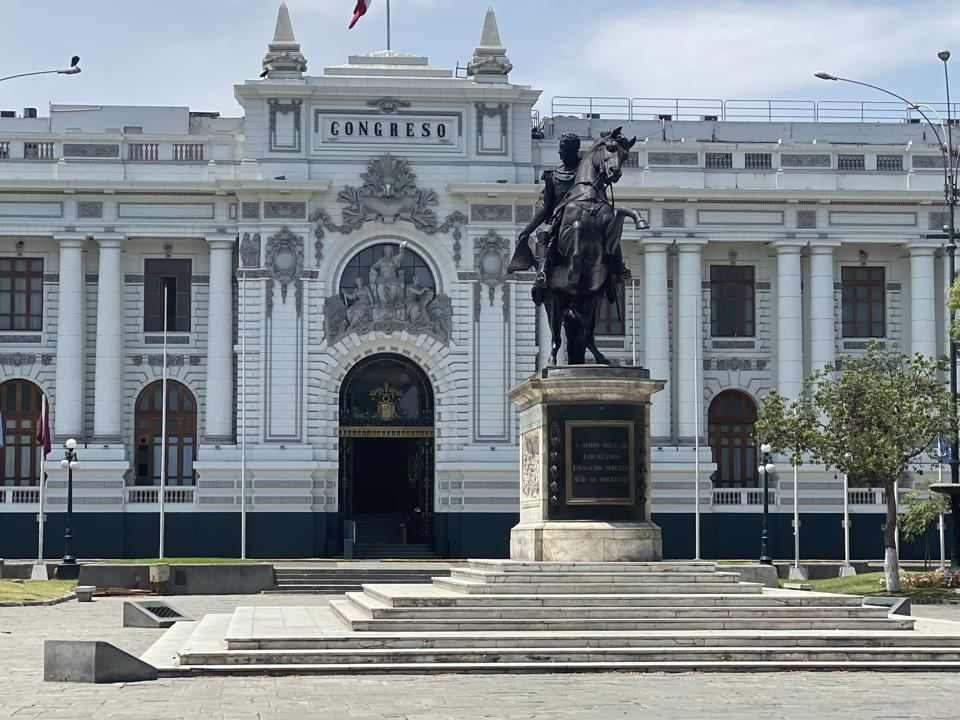 The Legislative Palace of Perù: Statue of the great Liberator and Venezuelan military and political leader who lead Perù to independence from the Spanish Empire