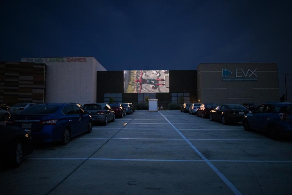 Drive-in in the parking lot of the EVO Cinema in Schertz, TX