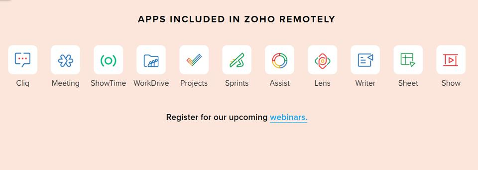 Zoho remotely offers a suite of web and mobile apps for collaboration, communication, and productivity