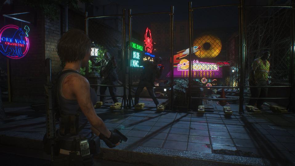 Jill in Raccoon City in Resident Evil 3.