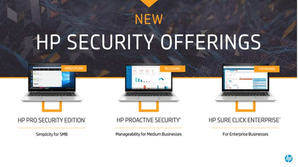 Figure 1: This week HP unveiled three new endpoint security offerings, for businesses of all sizes.
