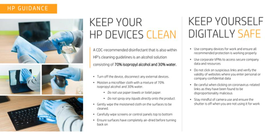 Figure 2: HP's guidance on physical and digital hygiene in the time of coronavirus