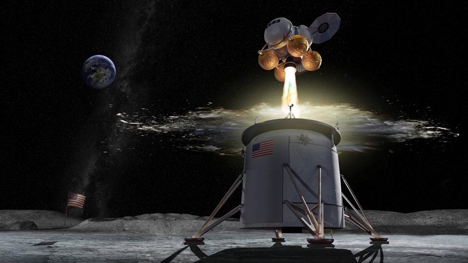 Artist's impression of a spacecraft ascending from the moon, with Earth in the background.