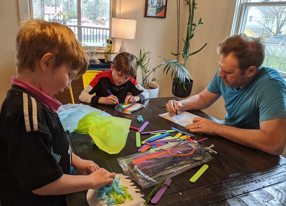 Product designer Mark Prommel at home with his kids.