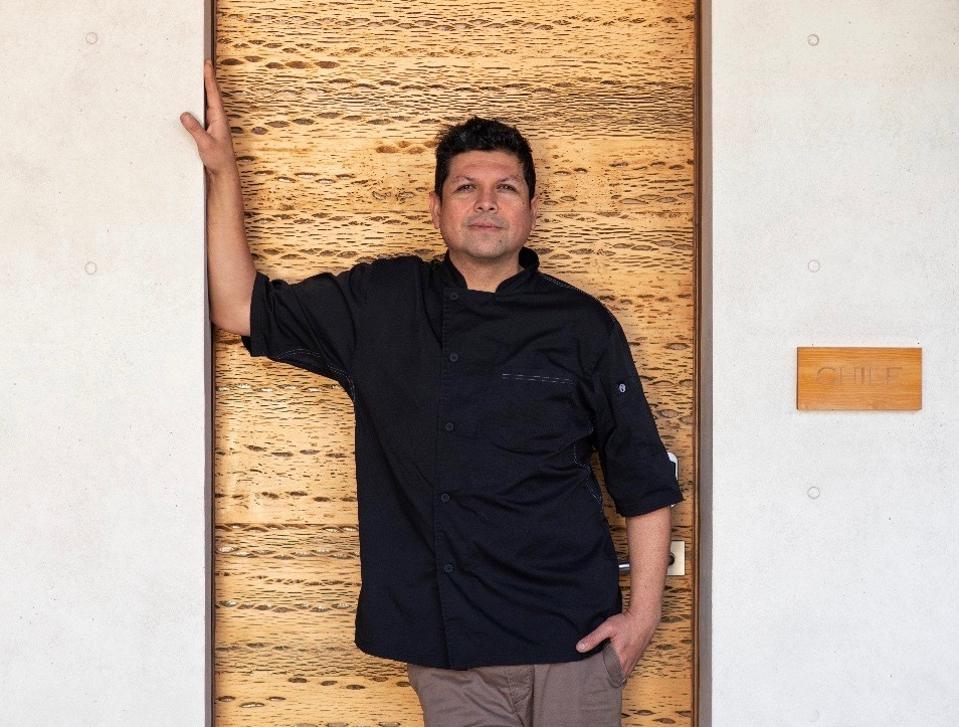 Chef Rodrigo Acuña Bravo of Vik Chile poses in the door of one of the hotel's suites.