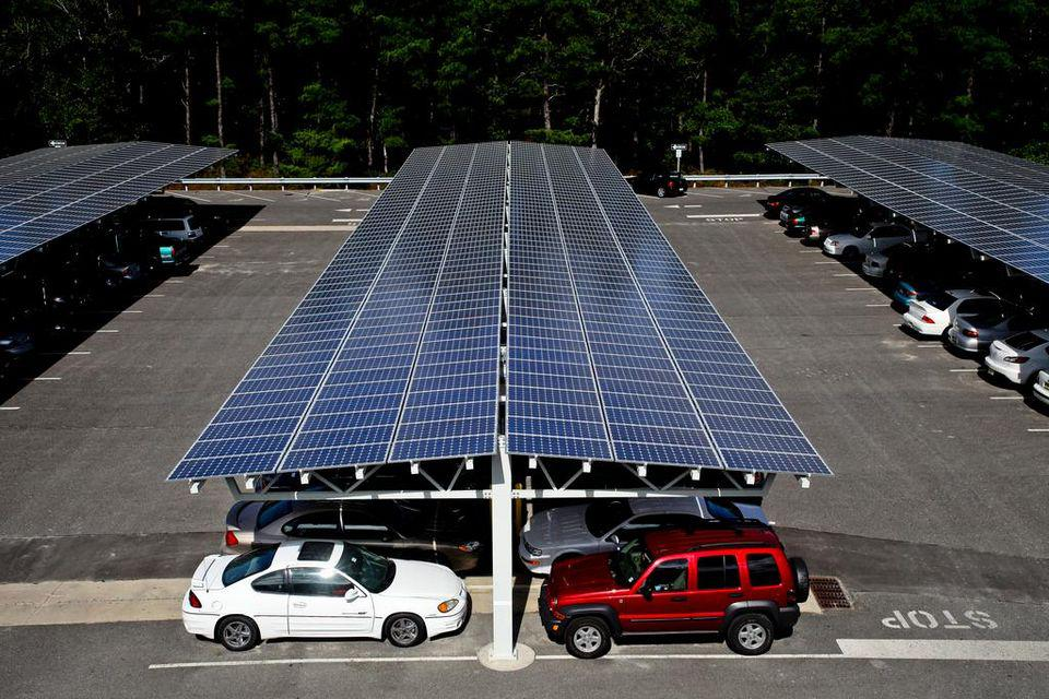 A solar carport installed by ProtekPark Solar at The Richard Stockton College of New Jersey.