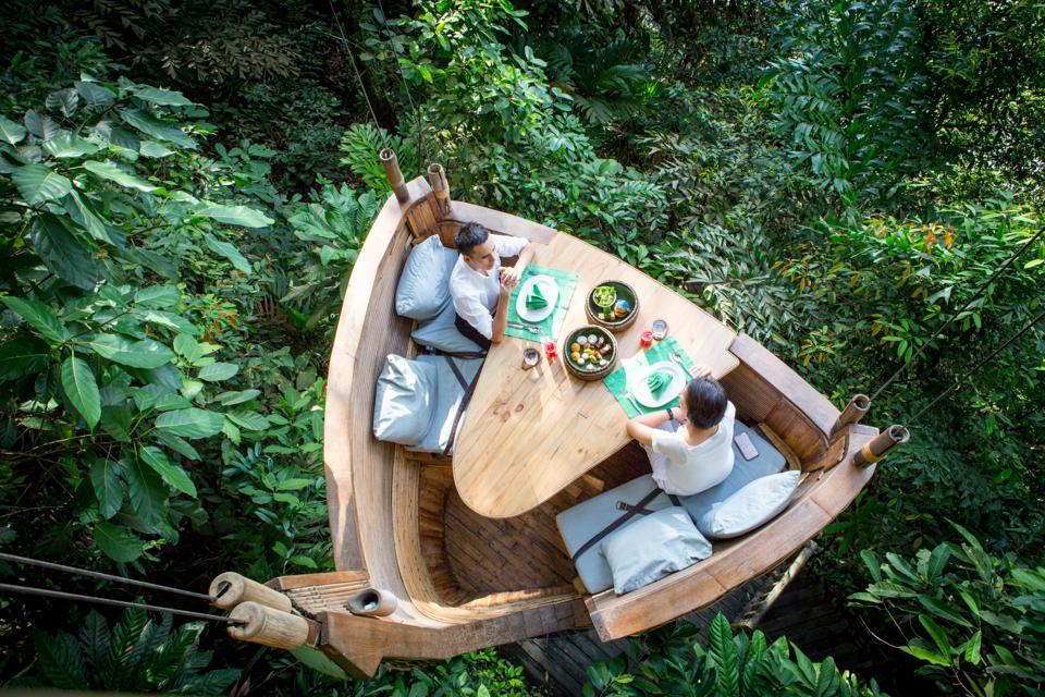 Treetop dining at Soneva Kiri