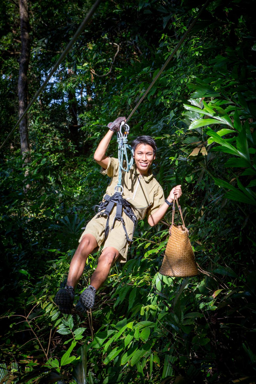 A ziplining waiter at Treetop Restaurant