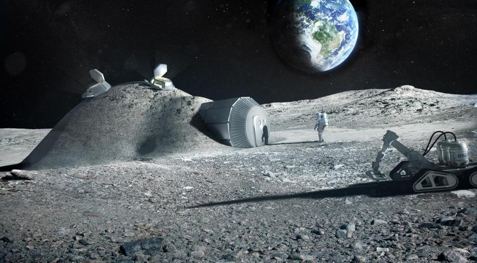 Future moon bases could be built with 3D printers that mix materials such as moon regolith, water and astronauts' urine.
