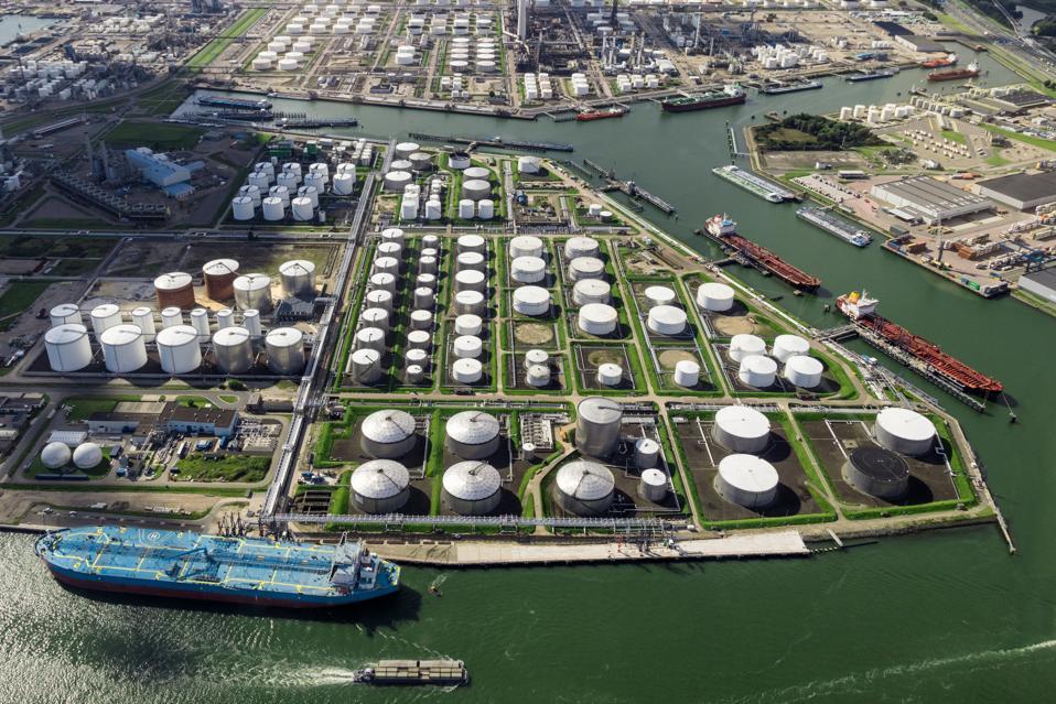 Oil terminal tanker aerial view port