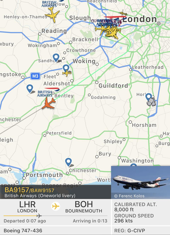 British Airways aircraft Bournemouth