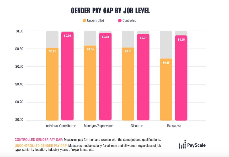 Gender Pay Gap chart by job level across organizations.