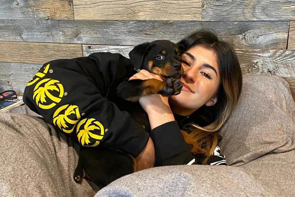Hailie Deegan and her new pup Trigger