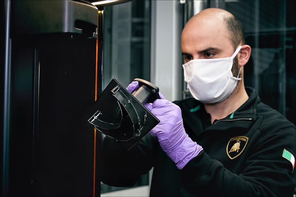 Lamborghini R&D technicians are producing 200 medical face shields per day.
