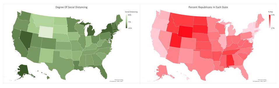 Comparing degree of social distancing versus percent republican in each state.