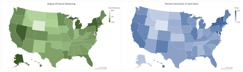 Comparing degree of social distancing versus percent Democrat in each state.
