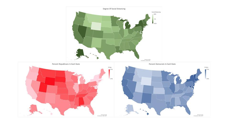 Comparing degree of social distancing versus political affiliation of each state