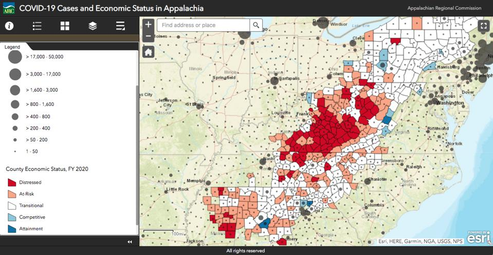 Number of COVID-19 cases compared with economic status of counties in Appalachia.