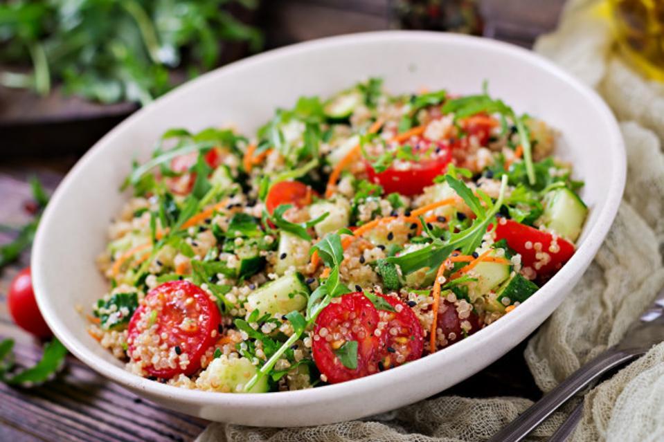 Quinoa and lentil salad with fresh veggies