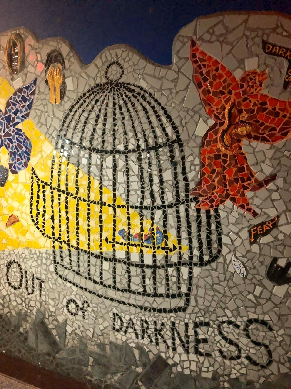 'Birdcage' mosaic, part of 'Out of the Darkness Into the Marvelous Light' project with victims of domestic violence, YMCA Wilmington, Delaware.
